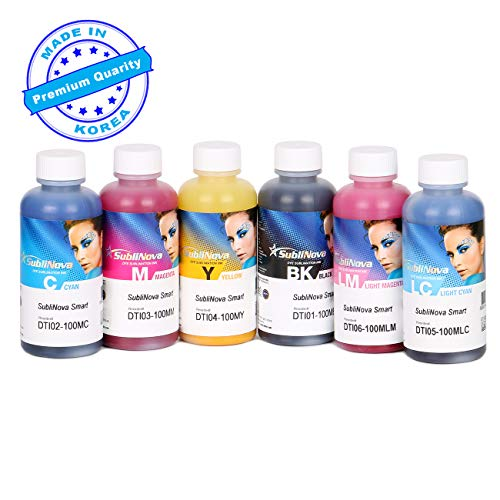 6 X 100ML Professional Sublimation Ink Refills for Inkjet Printers C68 C88 C88+ WF7610 WF7010 WF7710 WF7110 WF3640 WF3610 WF3540 Heat Press Transfer on Mugs, Plates, Polyester Shirts