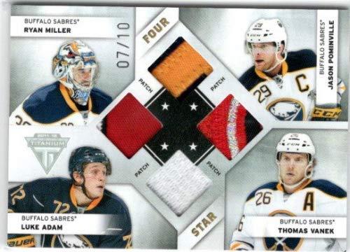2011-12 Panini Titanium Four Star Memorabilia Patch #3 Ryan Miller Jason Pominville Luke Adam Thomas Vanek Jersey /10 - Sabres