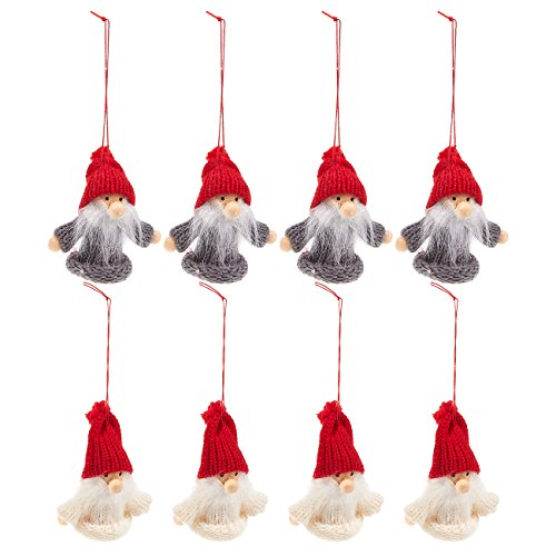Juvale 8-Pack of Miniature Christmas Ornaments - Rustic Christmas Decorations, Wood Shapes, Christmas Crafts, Christian Ornaments - 5.6 x 7.3 x 1.5 Inches