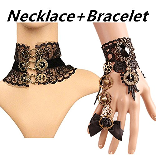 Meiysh Gothic Lolita Retro Steampunk Gear Lace Slave Bracelet Wristband Black Flower Ring (Necklace B+Bracelet Black 1)