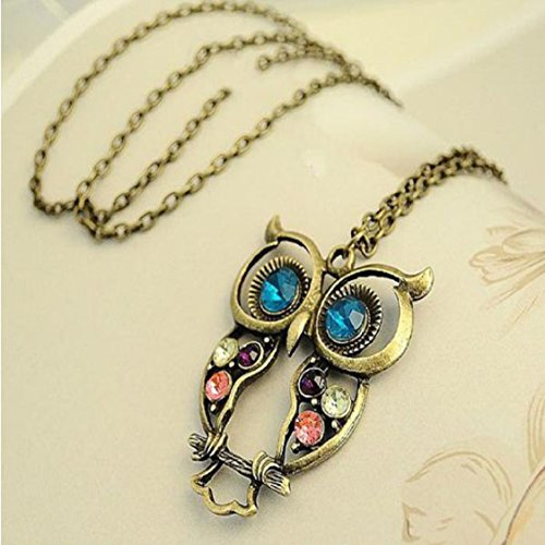 - Ikevan Hot Selling Women Lady Crystal Blue Eyed Owl Long Chain Pendant Sweater Coat Necklace