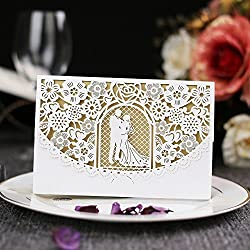 WPPOWER Wedding Invitation Cards - Laser Cut Gold Foil and Floral Design Invitation Pockets for Bridal Showers, Engagement Parties, Includes Covers, Blank Inserts, Envelopes(Pack of 10) (Beige)