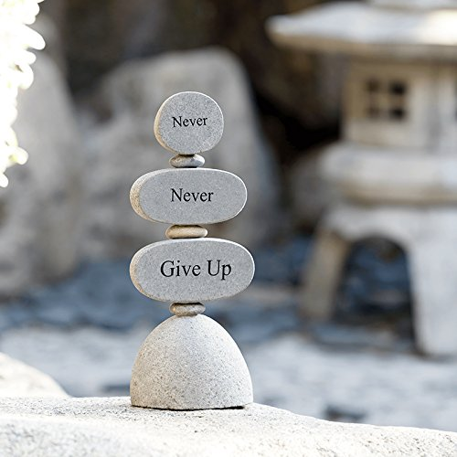Cheap Never Never Give Up Engraved Stones Zen Garden sculptures Rock Cairn