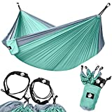Legit Camping - Double Hammock - Lightweight Parachute Portable Hammocks for Hiking , Travel , Backpacking , Beach , Yard . Gear Includes Nylon Straps & Steel Carabiners (Grey/Sea Green)