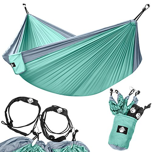 Legit Camping - Double Hammock - Lightweight Parachute Portable Hammocks for Hiking, Travel, Backpacking, Beach, Yard Gear Includes Nylon Straps & Steel Carabiners (Graphite/Seagreen) Early Light 2 Person Tent