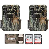 Two Browning Recon Force Advantage 20MP Trail/Game Cameras (1080p) with 2 16Gb Cards + Focus USB Reader