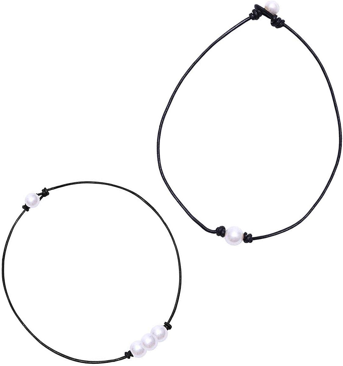Gargantilla de perlas, collar de cuero de perlas individuales para joyería regalos para mujeres y niñas, señoras, 2 piezas
