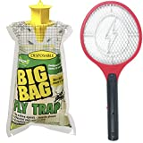CrimsonShop Mosquito Racket Bug Zapper Racket Bug Swatter Electric Fly Swatter And Disposable Fly Trap Fly Bag