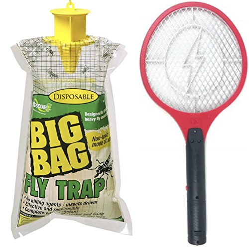 CrimsonShop Mosquito Racket Bug Zapper Racket Bug Swatter Electric Fly Swatter And Disposable Fly Trap Fly Bag by CrimsonShop