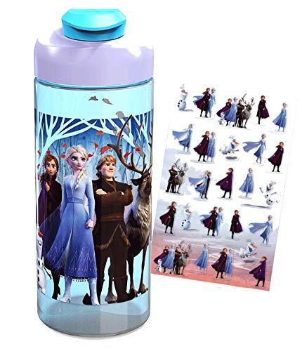 Zak Frozen 2 Believe in The Journey Kids 16oz Sullivan Water Bottle with Snap Top Lid – BPA Free – Plus Frozen 2 Stickers…