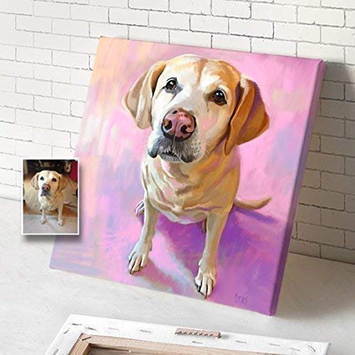 358639d5ff534 Custom Dog Portrait On Canvas, Portrait From Photo, Personalized Customized  Acrylic Oil Watercolor Painting, Dog Canvas
