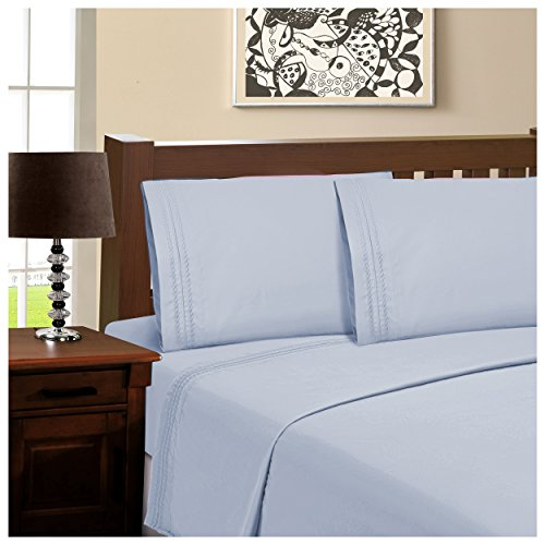 Superior Infinity Embroidered Luxury Soft, Cooling 100% Brushed Microfiber 4-Piece Sheet Set, Light Weight and Wrinkle Resistant - Full Sheets, Light Blue - Luxury Cabana Sheet Sets