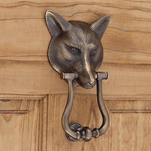 (Casa Hardware Brass Fox Door Knocker in Antique Brass Finish)