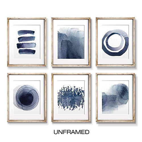 Wall Art Prints for Living Room Bedroom Kitchen   Abstract Blue Watercolor Paintings   Digital Prints   Home Decor Accents   Home Decorations   8X10   Set of 6   Unframed