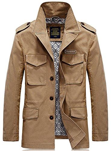YYZYY chaqueta hombre para Abrigo Caqui F7qACg7n4