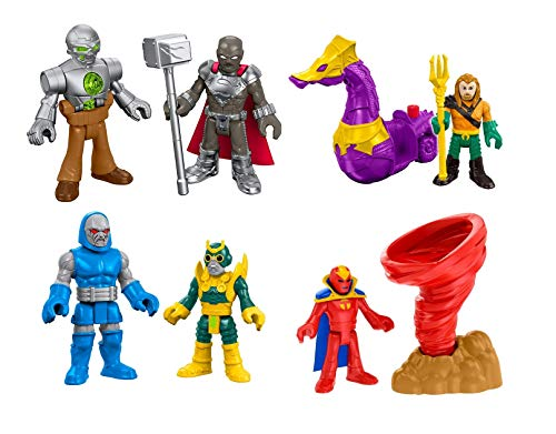 Set of 4: Fisher-Price Imaginext Justice League Mini Figures - Steel, Metallo, Red Tornado, Darkseid, Minion, Aquaman, Seahorse ()