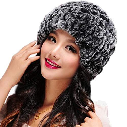Crytech Unisex Winter Warm Rex Rabbit Fur Knitted Hat, Fashion Stretch Cossack Russian Style Handmade Knit Snow Cap Thermal Ski Hat Ear Warmer Headwrap Headgear Earwarmer for Women Men Lady (Gray)