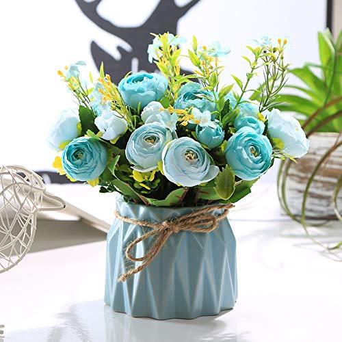 AJIAHHFlor Artificial Falsa Flores secas Sala de Estar de Interior Mesa de Centro de Escritorio Mesa de Comedor Decoracion Floral Decoracion Fresca Ramo en Maceta Fondo Azul Azul Brote de te