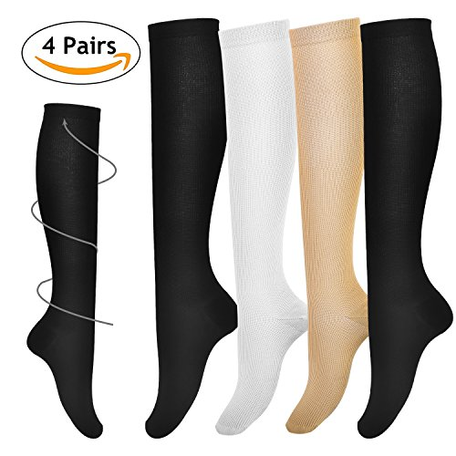 Deilin Compression Socks for Women & Men (4 Pairs), Graduated Compression Sock 15-20 mmhg for Medical, Running, Athletic, Edema, Diabetic, Varicose Veins, Travel, Nurses, Pregnancy, Maternity