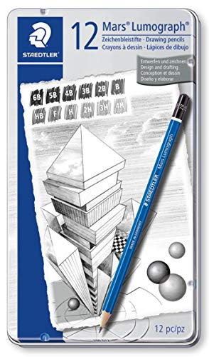 - STAEDTLER premium quality drawing pencil, Mars Lumograph, graphite pencil set in metal tin, break-resistant super-bonded lead, design set of 12 degrees, 100 G12