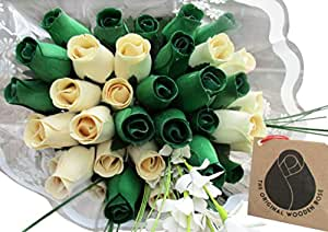 St. Patrick's Day Green and White Flower Bouquet The Original Wooden Rose Closed Bud Roses (3 Dozen)