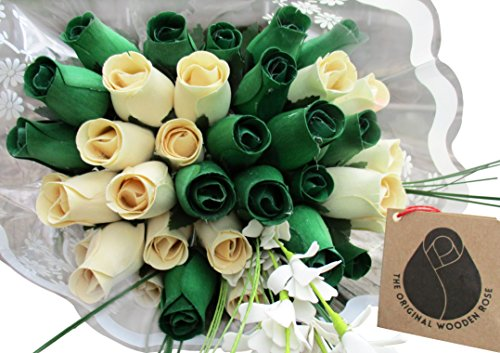 (The Original Wooden Rose St. Patrick's Day Green and White Flower Bouquet Closed Bud Roses (3 Dozen))