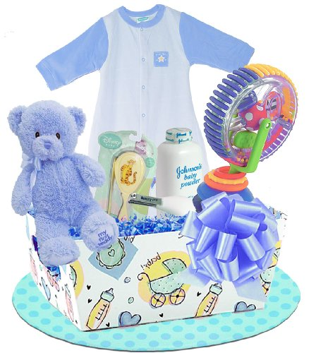 "UPC 663416972936, Baby Boutique ""Deluxe Bath Basket"" Boy's New Baby Gift Basket, Blue"