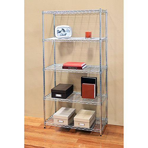 seville classics 5 tier ultrazinc steel wire shelving w. Black Bedroom Furniture Sets. Home Design Ideas