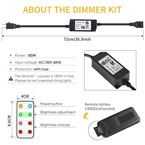 Foxdam Wireless Remote Control Dimmer,Max Power 180W,Outdoor Dimmer for The String Lights,Memory,150Ft Max Range,IP68 Waterproof, Stepless Dimming,Plug in Dimmer Switch(ONLY for LED DIMMABLE Bulb) by Foxdam (Image #1)