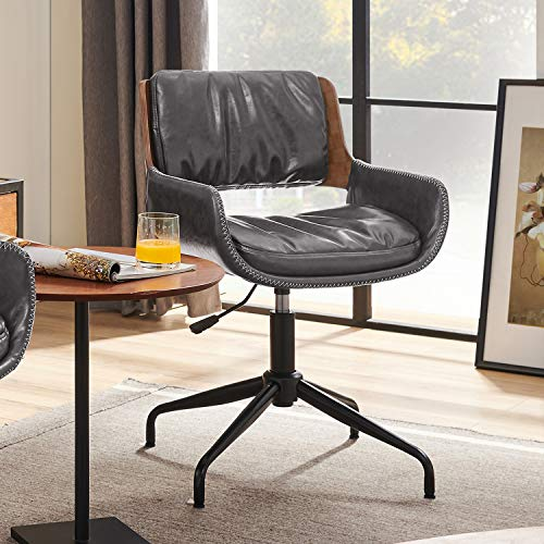 Volans Mid Century Modern Faux Leather Swivel Home Office Desk Chair No Wheels, Adjustable Height Task Chair with Arms, Gray