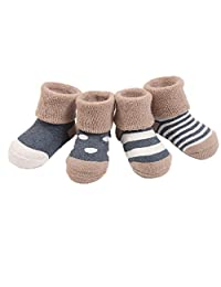 Celine lin Baby Thick Warm Toddler Socks-Heathered Boy Socks and Girl Socks,4-Pair