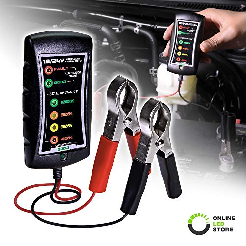 12/24V DC Automotive Battery Tester [Large Clamps] [LED Display] - Alternator/Battery Check/Diagnostic Tool for Cars Motorcycles Trucks (Car Battery Checker)