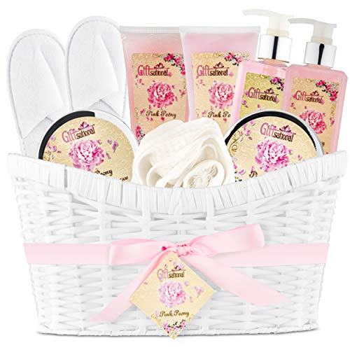 Pink Peony Spa Bath Gift Basket Set for Women by Giftsational | Has Bubble Bath, Shower Gel, Body Scrub, Body Lotion, Bath Salts, Body Cream, | Great Present for Birthday, Holiday by Giftsational