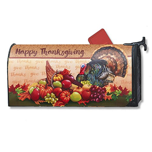 Magnetic Mailbox Cover - Fall Autumn Themed, Decorative Vintage Vinyl Mailbox Wrap for Standard Size, Happy Thanksgiving Cornucopia and Turkey Festival Design – Multicolor, 17.25 x 20.75 inches by Juvale