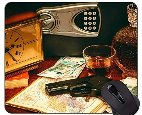 Gaming Mouse Pad, Guns Ammunition Safety Deposit Box Mouse Pad with Stitched Edge