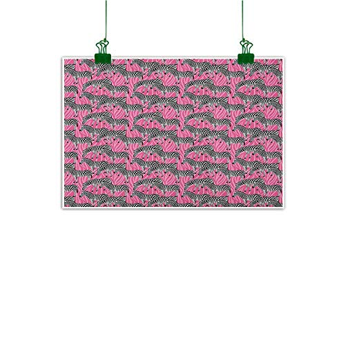 (Gabriesl Hanging Painting Pink Zebra Zebras Pattern Wild Animal Hippie Indie Stylized Tropical Tones Pastel White Black Pink Customizable Wall Stickers W48 x H32)