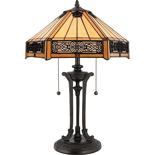 Quoizel TF6669VB Indus Tiffany Table Lamp, 2-Light, 120 Watts, Vintage Bronze (23