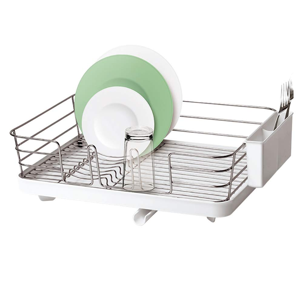 Metal kitchen Storage Basket ,Cutlery Drainage Rack - Tableware And fork Cups Can Be Safely Placed. (color : White)