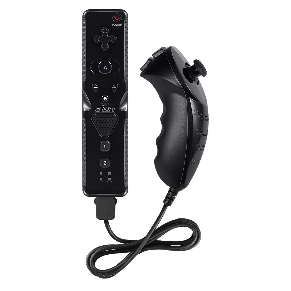 Pekyok XW31 Wii MotionPlus, 2 en 1 Motion Plus Mando de Wii y Nunchuk para Nintendo Wii/Wii U + Correa de muñeca - Negro: Amazon.es: Videojuegos
