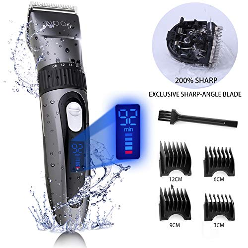 NOOA Hair Clippers & Trimmers for Men, Cordless Rechargeable Beard Trimmer, Professional Waterproof Hair Cutting Kit with LCD Display, Hair Trimmer with Oil and Brush, 4 Guide Combs Set