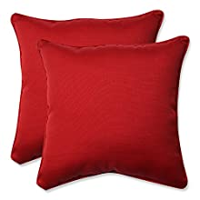 Pillow Perfect Decorative Red Solid Toss Pillows, Square, 2-Pack