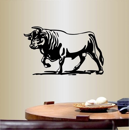 Wall Vinyl Decal Home Decor Art Sticker Bull Animal Bedroom Living Room Removable Stylish Mural Unique Design (Animal Design Shop Stickers)