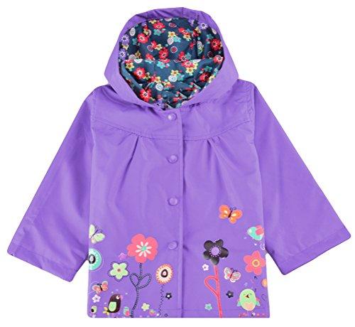 Halife Little Girls' Hooded Rain Jacket Waterproof Raincoat Floral Hoodies