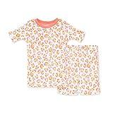 Burt's Bees Baby Baby Girls' Pajamas, Tee and Pant 2-Piece Pj Set, 100% Organic Cotton, Cheetah Short Sleeve, 3T
