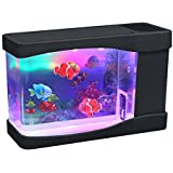 Lightahead® Mini aquarium avec poissons artificiels, bulles et LED multicolores 23 x 12 x 9 cm