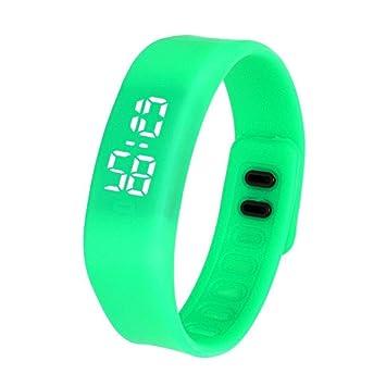 FAMILIZO Para mujer para hombre del reloj de goma LED Fecha Deportes reloj digital pulsera (Verde): Amazon.es: Deportes y aire libre