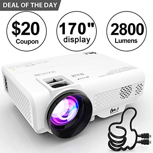 DR. J Professional 2800 Brightness Video Projector 1080P Full HD Supported Mini Projector, TV Stick, HDMI, VGA, USB, TF, AV, Sound Bar, Video Games Compatible [Latest Upgrade]
