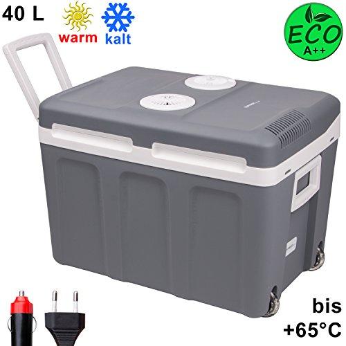 TZS First Austria – 40 L Kühlbox mit Rollen, zum Warmhalten und Kühlen, thermo-Elektrische Kühlbox 12 Volt und 230 Volt, Mini-Kühlschrank | Thermobox für Auto, Boot und Camping | EEK A++ mit ECO Modus