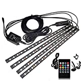 Interior Car LED Strip Lights, 4pcs DC 12V Multi-Color Car Inside Light LED Underdash Music Lighting Kit With Wireless Remote Control and Sound Active Function, Car Charged Included