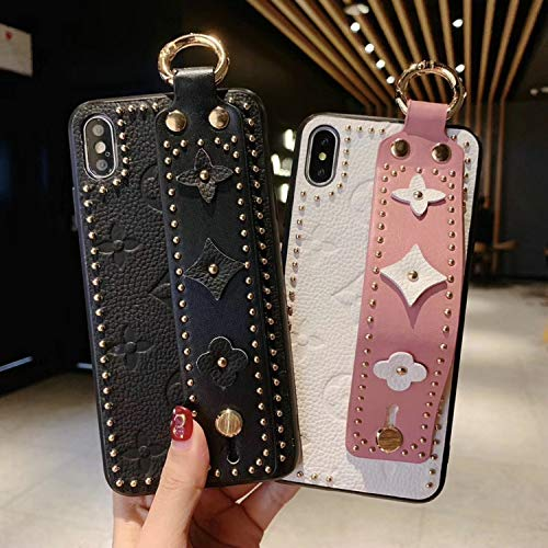 New Women Men Phone Case Fashion New Rivet Fashion Phone case Cover for iPhone 7plus 8plus 6Splus 6 7 8 X XS max Xr 6.5 inch 6.1 Wrist Strap case,Orange,for iPhone Xr orange iphone xr case 5